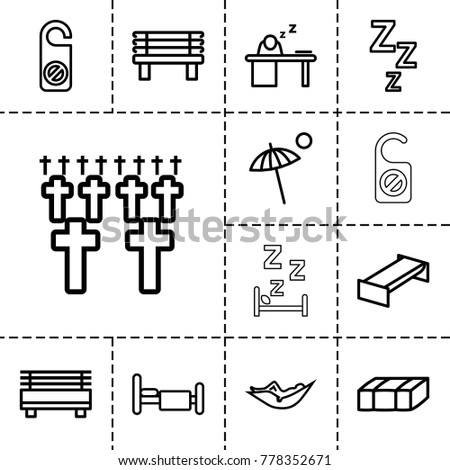Rest icons. set of 13 editable outline rest icons such as garden bench, woman in hammock, do not disturb, zzz, bench, bed, man sleeping on table, umbrella