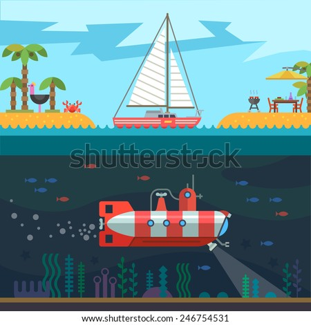 Rest on the sea: palms, islands, sail, submarine. Vector flat illustration - stock vector