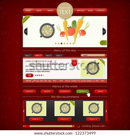 Restaurant and catering service website design template - stock vector