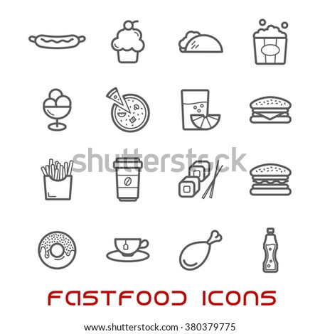 Restaurant and fast food thin line icons with pizza and sausage, burger and coffee cup, cake and chicken, tacho and ice cream, hot dog and french fries, donut, sushi, tea and soda, juice and popcorn