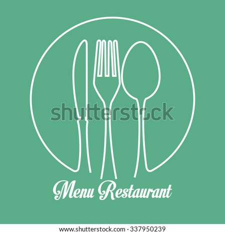 Restaurant and kitchen dishware design with icons, vector illustration graphic - stock vector