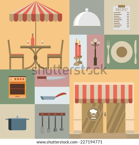 "Restaurant Kitchen Illustration mix3r's ""nature, planescape, buildings"" set on shutterstock"