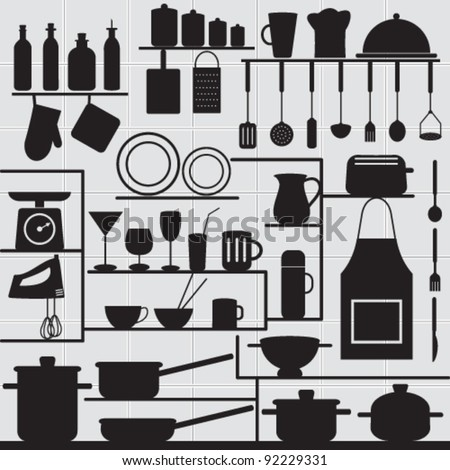 Restaurant and kitchen related symbols on tiled background 1 Silhouettes of kitchen objects on gray tiled wall. - stock vector