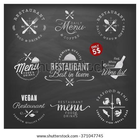 Restaurant and Menu Badge Set. Menu and Wine List Illustrations - stock vector