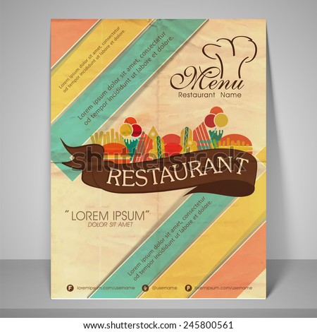 Restaurant and menu card design or flyer on retro background. - stock vector
