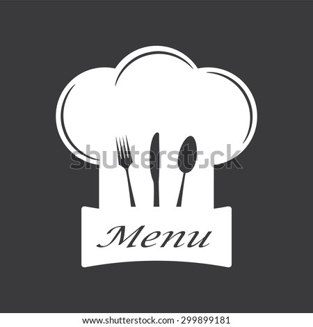 Restaurant and menu symbol, logo. Cutlery vector illustration.