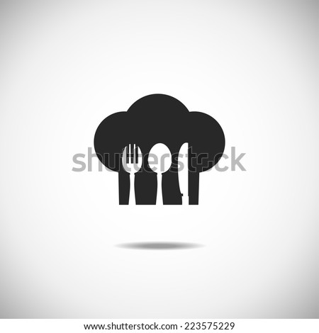 Restaurant and menu symbol, logo. Cutlery vector illustration. Spoon plate knife fork - stock vector