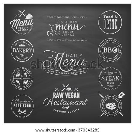 Restaurant Badges and Labels in Vintage Style. Menu Design Elements on Chalkboard - stock vector
