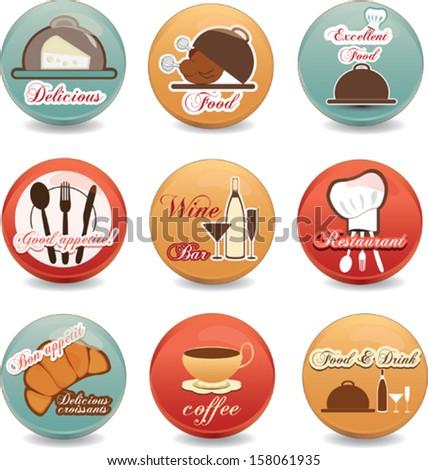 Restaurant badges set - stock vector