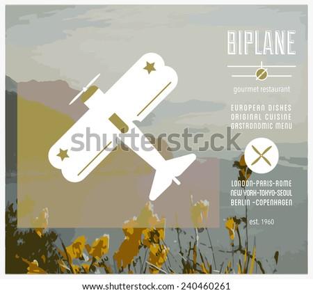 Restaurant Biplane - design elements stock vector - stock vector