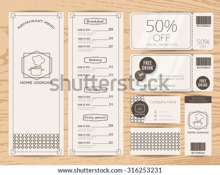 restaurant, bistro and cafe menu, business card, tag and gift voucher coupon  design. background and elements. Can be used for layout, banner, web design, brochure template. Vector illustration - stock vector