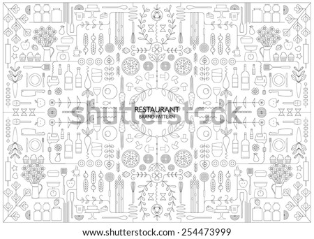 RESTAURANT BRANDING LINE ART PATTERN DESIGN TEMPLATE. Vector illustration file with editable graphic design elements: typography, dividers, frame, decorative elements, icons, symbols such as logo.