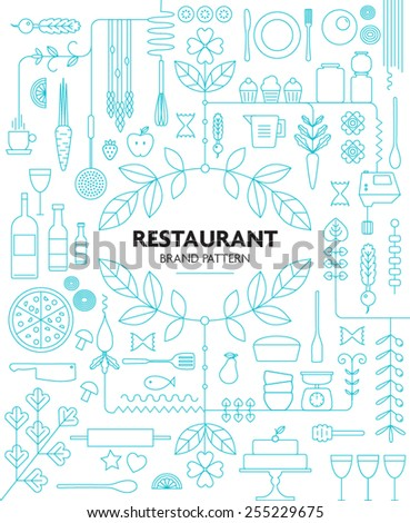 RESTAURANT BRANDING LINE PATTERN DESIGN TEMPLATE. Vector illustration file with editable graphic design elements: typography, dividers, frame, decorative elements, icons, symbols etc. - stock vector