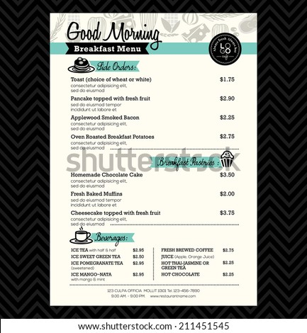 Restaurant Breakfast menu design Template layout - stock vector