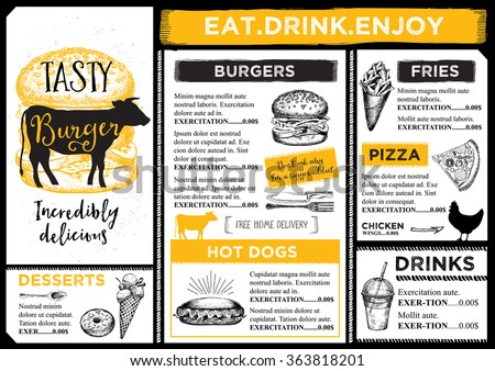 Restaurant Brochure Vector Menu Design Vector Stock Vector