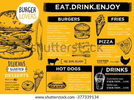 Restaurant Brochure Vector Menu Design Vector Stock Photo Photo