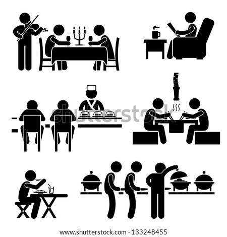 Restaurant Cafe Food Drink Candlelight Dinner Coffee Shop Japanese Sushi Korean BBQ Buffet Stick Figure Pictogram Icon - stock vector
