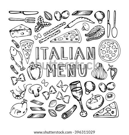 Restaurant cafe italian menu. Illustration of vintage typographical element for italian menu on chalkboard. Sketch - stock vector