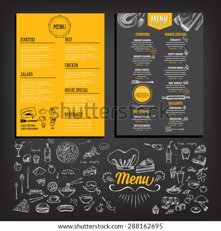 Restaurant Cafe Menu Template Design Food Stock Vector 289261652