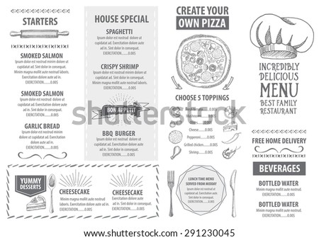 Restaurant Cafe Menu Template Design Food Stock Vector 292160201