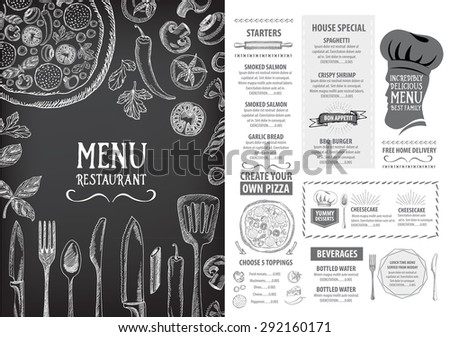 Restaurant cafe menu, template design. Food flyer. - stock vector