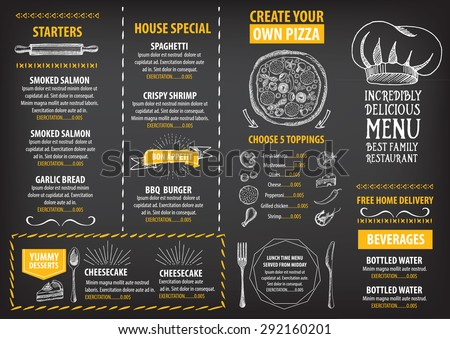Restaurant Cafe Menu Template Design Food Stock Photo Photo Vector