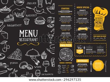 Restaurant cafe menu, template design. Food flyer. - stock vector
