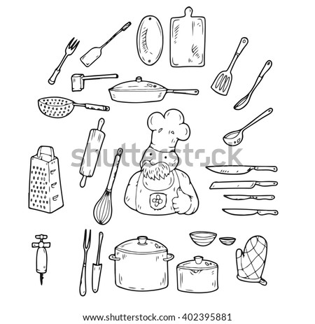 Restaurant chef on courses on cooking shows his skills, using numerous kitchen utensils - stock vector