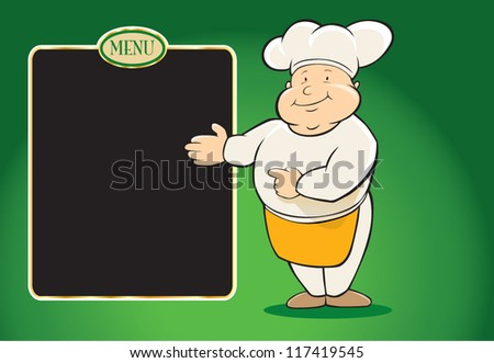Restaurant chef with menu paper - stock vector