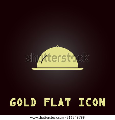 Restaurant cloche. Gold flat vector icon. Symbol for web and mobile applications for use as logo, pictogram, infographic element - stock vector
