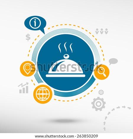 Restaurant cloche icon. Creative design elements. Flat design concept - stock vector