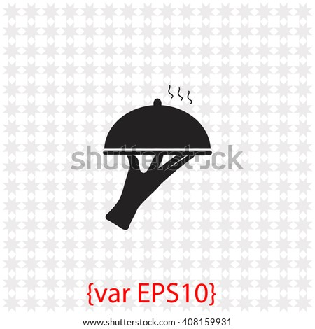 Restaurant cloche in hand the waiter icon. Restaurant cloche in hand the waiter vector. Simple icon isolated on gray background. - stock vector