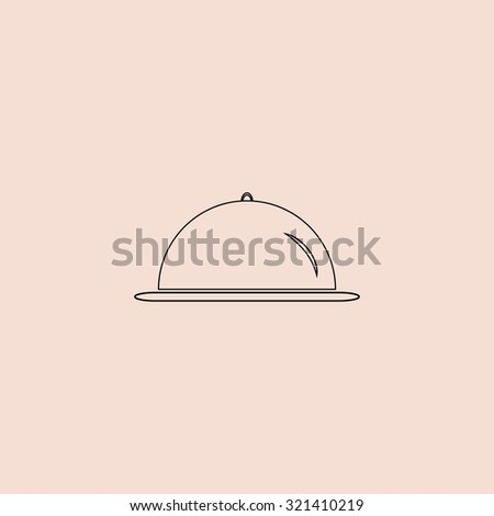 Restaurant cloche. Outline vector icon. Simple flat pictogram on pink backgroun - stock vector