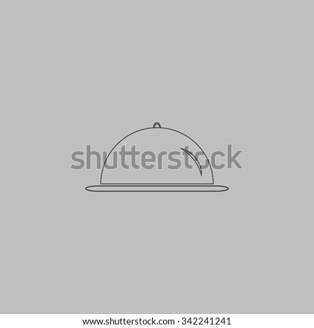 Restaurant cloche. Outlne vector icon on grey background - stock vector