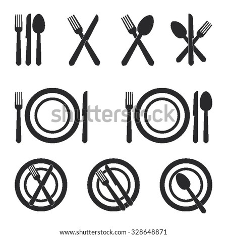 Restaurant Cutlery Icons Set - stock vector