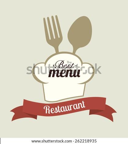 Restaurant design over beige background, vector illustration. - stock vector