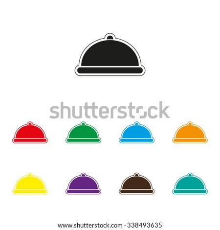 Restaurant dish - color vector icon - stock vector