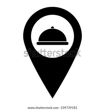 Restaurant dish - map pointer vector icon - stock vector