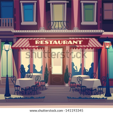 Restaurant facade. Retro style vector illustration - stock vector
