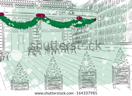 Restaurant facade with Christmas decorations in old city - stock vector