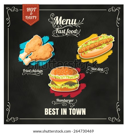 Restaurant Fast Foods menu on chalkboard vector format eps10 - stock vector