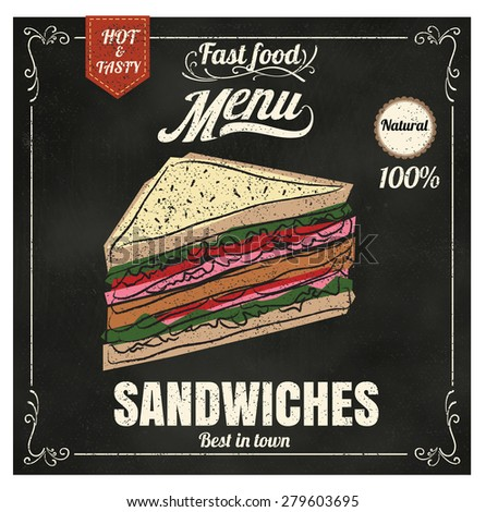 Restaurant Fast Foods menu sandwich on chalkboard vector format eps10 - stock vector