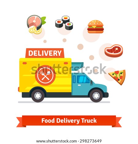 Restaurant food delivery truck with meal icons. Flat vector icons isolated on white background. - stock vector