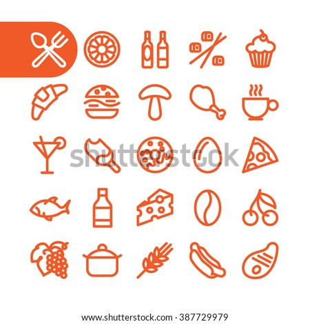 Restaurant food. Food icons. Menu food Icons for restaurant. Modern minimalistic flat design elements of various meals, food, drinks, ingredients and kitchen utensils. Vector food icons - stock vector
