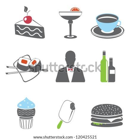 Restaurant. Food icons. Vector set - stock vector