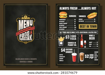Restaurant Food Menu Vintage Design with Chalkboard Background vector format eps10 - stock vector