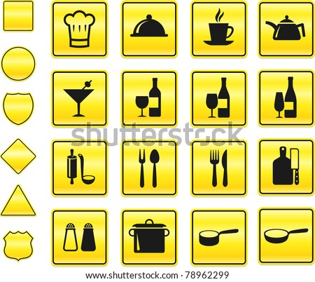 Restaurant Icon on Yellow Sign Button Collection Original Illustration - stock vector