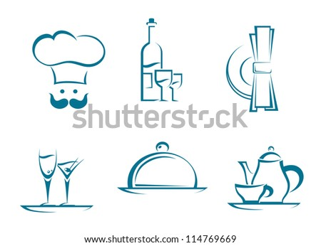 Restaurant icons and symbols set for food service design. Jpeg version also available in gallery - stock vector