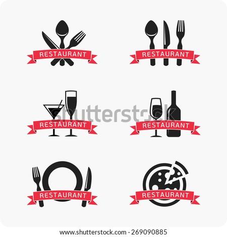Restaurant icons, logo - stock vector