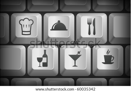 Restaurant Icons on Computer Keyboard Buttons Original Illustration - stock vector